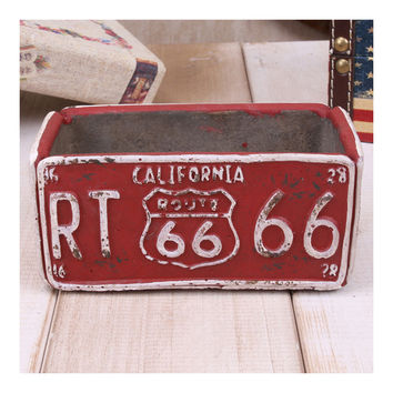 Vintage Route 66 Ashtray Car Plate Ashtray Succulent Pot    red