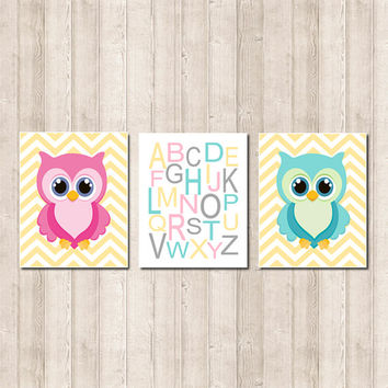 Owl Nursery Art Girl Nursery Decor Boy Girl Twins Nursery Art Pink Gray Aqua Yellow Alphabet Letters Chevron Set of 3 Prints Or Canvas