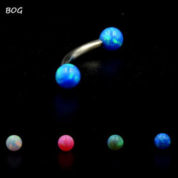 1 Pc Surgical Steel Curved Barbell Opal Stone Eyebrow Ring