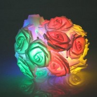 KINGSO 20 LED Battery Operated Rose Flower String Lights Wedding Garden Christmas Decor (Mixed Color )