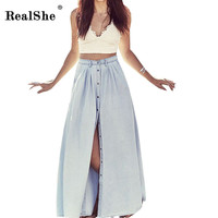 RealShe Long Skirt  Summer Women Saia Middle Waist Slit Skirts Straight Casual Denim Saias Plus Size Petticoat With Button