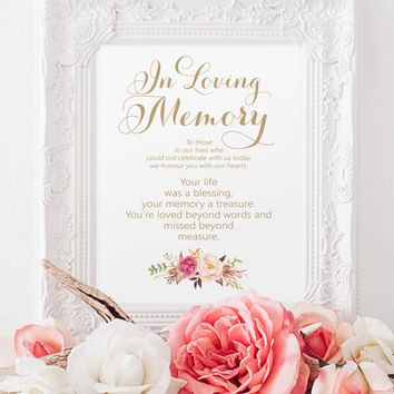 "In Loving Memory Sign - 8 x 10 sign - DIY Printable sign in ""Vintage"" antique gold - PDF and JPG files - Instant Download"