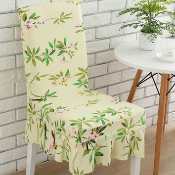 1pc Spandex Polyester Stretch Elegant Floral Leaves Pattern Big Swing Dining Chair Covers Universal Home Hotel Party Seat Covers