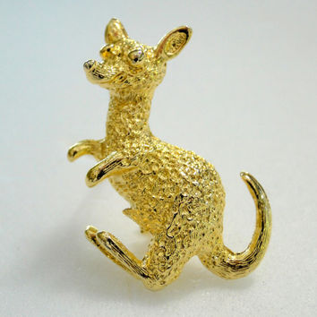 Kangaroo Brooch Textured Gold Wallaby Cute Vintage Pin, Dollar Days Sale