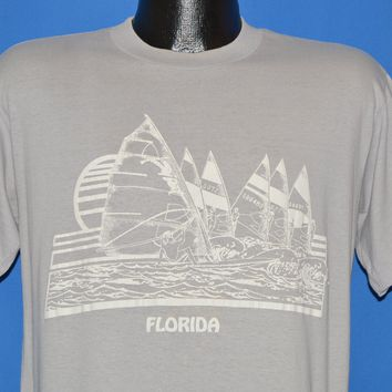 80s Florida Sailing Wind Surfing Puffy Paint t-shirt Medium