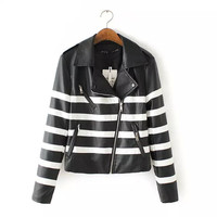 Black And White Stripe Faux leather Zipper Jacket