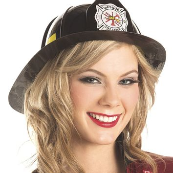 Fire Fighter Hat Black Plastic