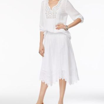 Style & Co Cotton Embroidered Handkerchief-Hem Skirt, Only at Macy's - Skirts - Women - Macy's