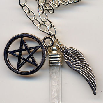 Supernatural Inspired Rock Salt Pentagram & Angel Wing Necklace