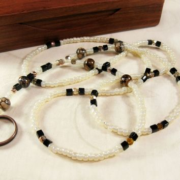Creamy Ivory ID Leash Badge Holder with Chocolate Brown Water Stain Beads