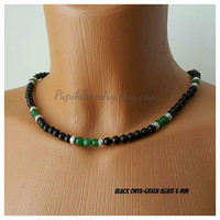 BEADED NECKLACE Black Onyx-Green Agate Necklace Women Men's Jewelry Custom Jewelry Long Necklace Agate Necklace Black Onyx Necklace