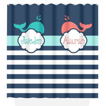 Whale SHOWER CURTAIN Stripe Brother Sister Boy Girl Custom MONOGRAM Personalized Bathroom Pattern Choose Color Bath Towel,  Bath Mat