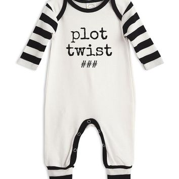 Ivory & Black Striped 'Plot Twist' Playsuit - Newborn & Infant