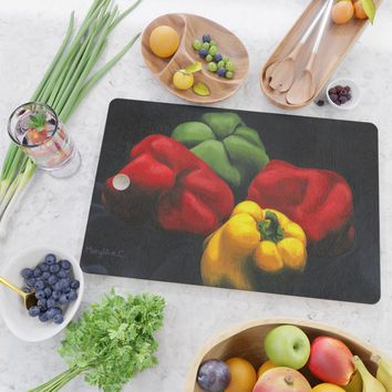 Still-life with peppers Cutting Board by savousepate