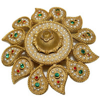 Kenneth Lane Brooch, Large Mughal Paisley Flower, Signed, Rare, Collectible, 1960s