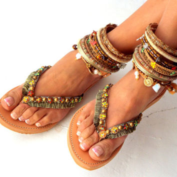 "Leather Boho Sandals, ""Africa"",  brown summer sandals, Greek Sandals, Handmade Sandals, , hippie sandals, Bohemian sandals"