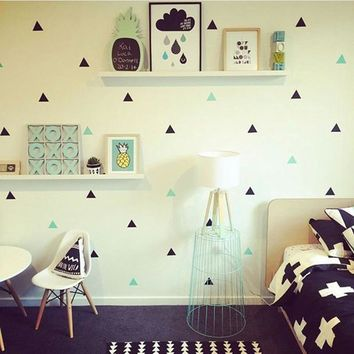 Gold Triangles Wall Sticker Removable Home Decor Art Wall Decals Small Baby Wallpapers Geometric Nordic Triangle Wall Stickers