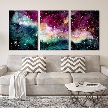 WATERCOLOR Pink Nebula Galaxy Wall Art, Galaxy Space Living Room Art, Watercolor Galaxy Space Pink Nebula Artwork, Set of 3 Canvas or Print