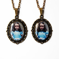 "The Grady Daughters From Stanley Kubrick ""The Shining"" - Set of 2 Handmade Vintage Cameo Pendant Necklaces - Best Friends or Sisters Jewelry"