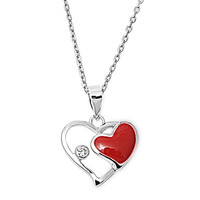 Red Heart Silver Necklace W/ CZ