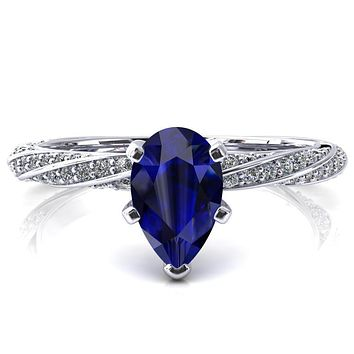 Elysia Pear Blue Sapphire 5 Prong 3/4 Eternity Diamond Accent Ring