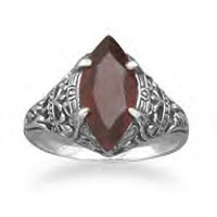 Vintage Style Marquise Garnet Ring