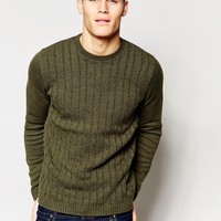ASOS Cable Knit Sweater in Khaki