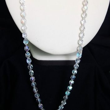 1950's Aurora Borealis AB Swarovski Crystal Glass Bead Long Vintage Art Deco Revival Necklace