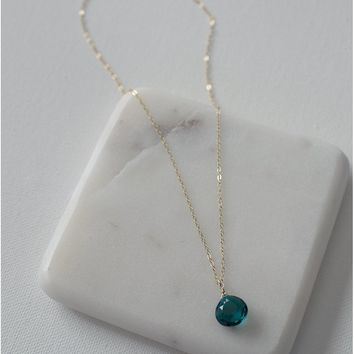 Faceted Teal Quartz Drop Necklace