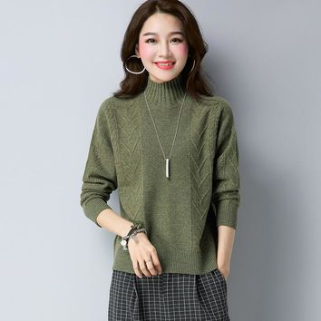 Autumn Winter 100% Wool Jacquard Weave Jumper Sweater Fashion Women Clothing All Matched Solid Color Pullover Knitted Jersey
