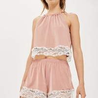 Satin Lace Camisole Top & Shorts Set | Topshop