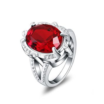 Beautiful Silver Plated Red Crystal Ring For Women