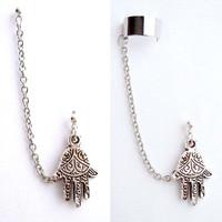 Single Hamsa, Fatima Hand with Double Piercing or Earring Cuff