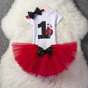 1 Year Baby Girl Princess Cake Outfit Summer Baby Birthday Party Clothes Kids Infant Clothing Dress Red Ladybug Little Girl Wear