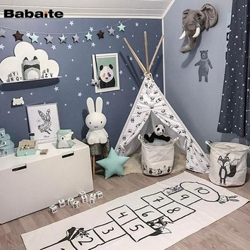 Babaite Checkers Game Baby Floor Crawling Carpets Hopscotch Play Rug Kids Children Room Decoration Creeping Mat