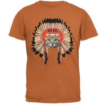 Thanksgiving Funny Cat Native American Texas Orange Adult T-Shirt