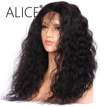 ALICE Deep Wave Full Lace Human Hair Wigs With Baby Hair Bleached Knots 8-24'' Remy Brazilian Wigs For Black Women 130 Density
