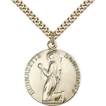 "Saint Bernadette Medal For Men - Gold Filled Necklace On 24"" Chain - 30 Day M... 617759788969"
