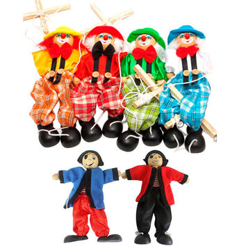 Marionette Hand Puppet Baby toys Pull String Puppet Clown Wooden Toy Joint Activity Doll Vintage Funny Traditions Classic Toy