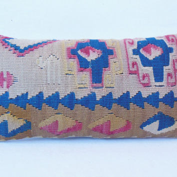 "VINTAGE Home Decor , Turkish Kilim Pillow cover 10"" x 20"" , lumbar pillow cover, Decorative Pillow , Throw Pillow, Accent Pillow"