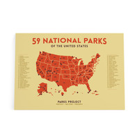 Mid Century 59 National Parks Poster Map