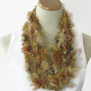 Gold Scarf, Fashion Scarf, Knit Cowl, Cowl, Circle Scarf, Fiber Art, Loop Scarf, Mother's Day, Spring Scarf, Gift For Her, Knit Scarf