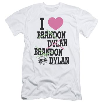 90210 Slim Fit T-Shirt I Love Brandon and Dylan White Tee