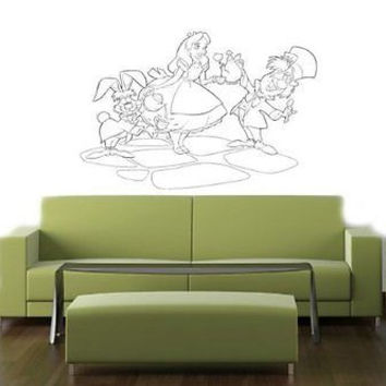 Alice In Wonderland Tea Party Wall Art Sticker Decal 007