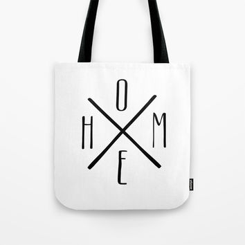 HOME Farmhouse Style Black+White Minimal Tote Bag by Inspire Your Art