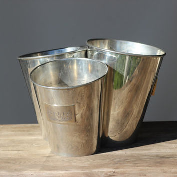 "Exceptional French Vintage Champagne Cooler ""Deutz Trio"" Three Champagne Wine Bucket"