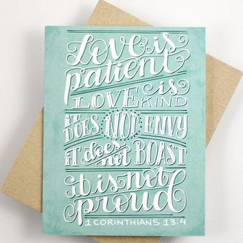 Card - Love is patient, love is kind - 1 corinthians 13:4