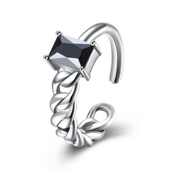 Sterling Silver Pandora Inspired Onyx Princess Cut Stone Adjustable Ring