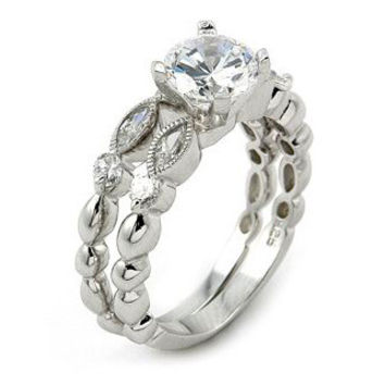 Sterling Silver Fantasy Marquise Round Cut CZ Wedding Ring set size 5-9