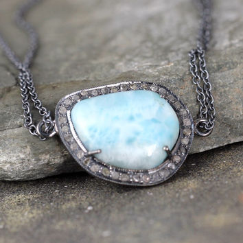 Larimar and Raw Diamond Necklace - Sterling Silver - Halo Pendant - Rustic Jewellery - Blue Gemstone Necklace - Beach Wedding Jewellery